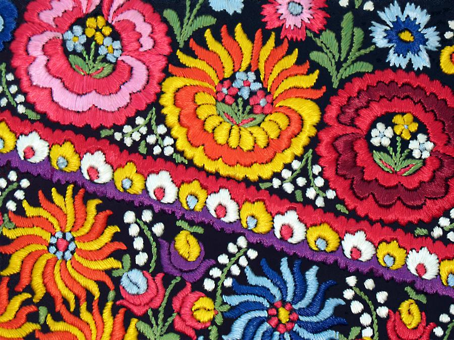 Hungarian Embroidery Photograph - Hungarian Matyo Szentgyorgy Folk Embroidery Photographic Print by Andrea Lazar