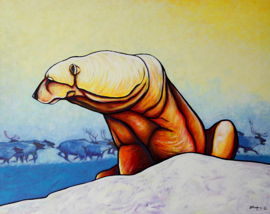 Wildlife Painting - Hunger Burns - Polar Bear And Caribou by Joe  Triano