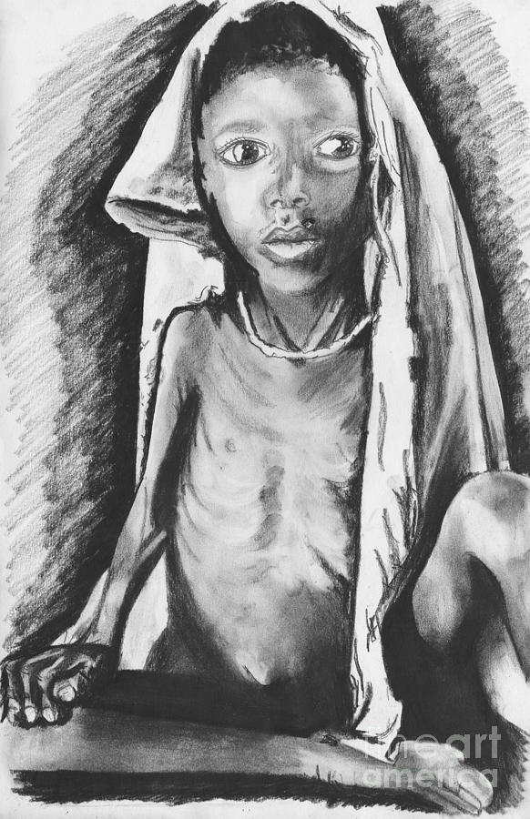 Africa Drawing - Hunger by Laura Brightwood