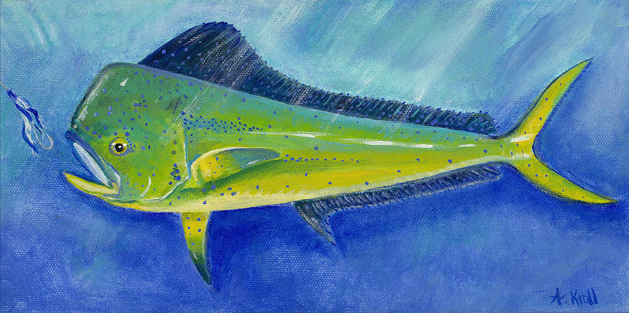 Dolphin Painting - Hungry Dolphin by Amie Kroll