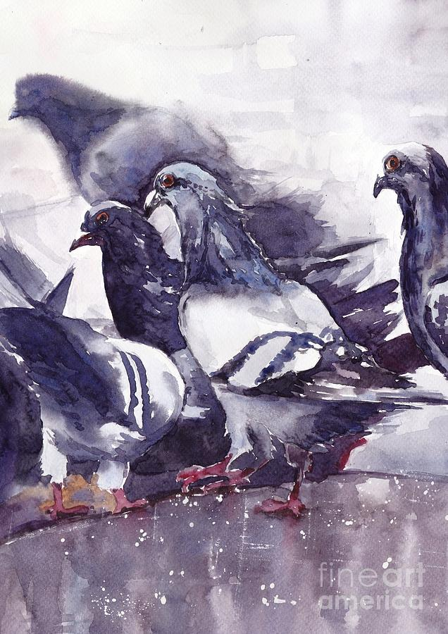 Pigeons Painting - Hungry Pigeons Watercolor by Suzann Sines
