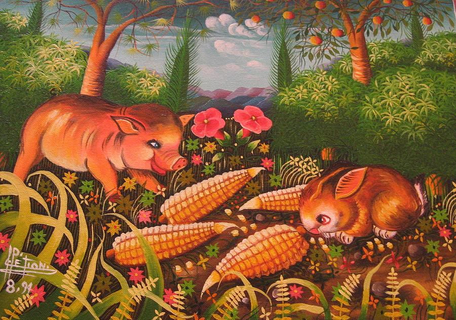 HungryPig Painting by Frantz Petion