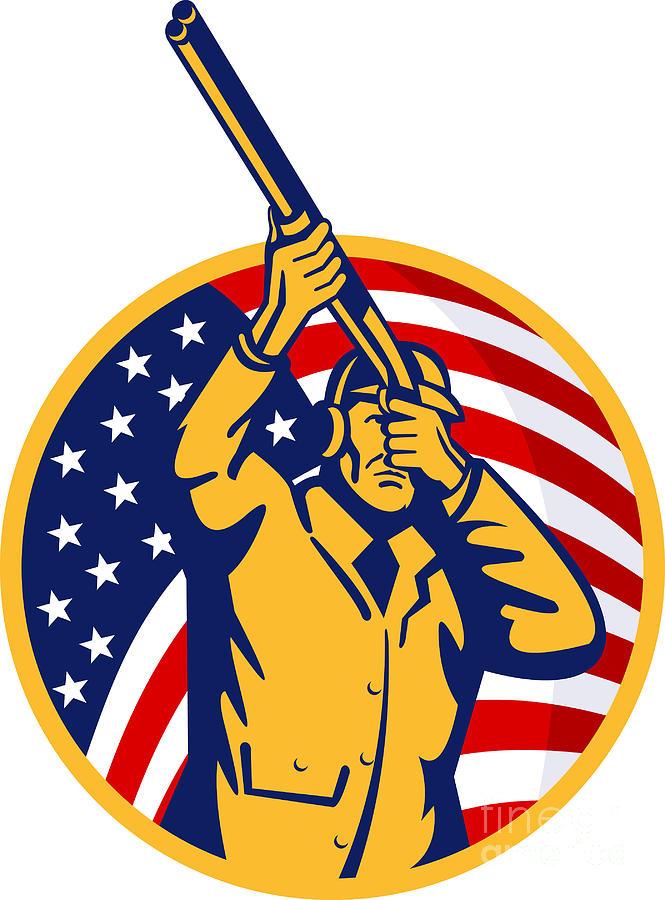 Hunter Digital Art - Hunter American Flag by Aloysius Patrimonio
