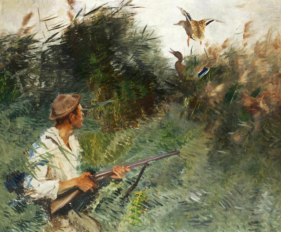 Swedish Painters Painting - Hunter And Mallards by Bruno Liljefors