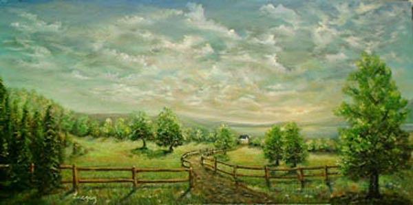 Landscape Painting - Hunterdon Hills by Katalin Luczay