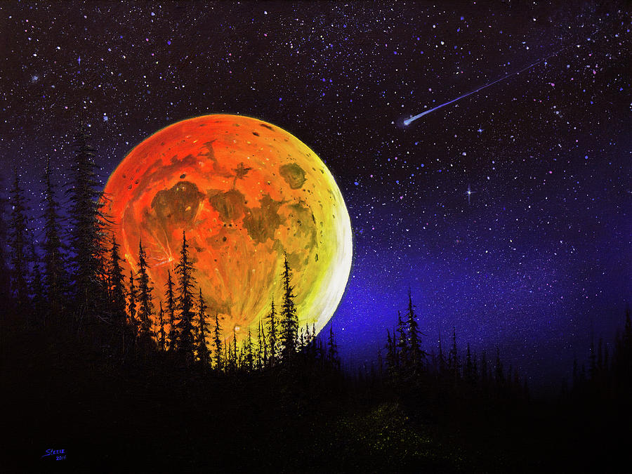 Full Moon Painting - Hunters Harvest Moon by Chris Steele