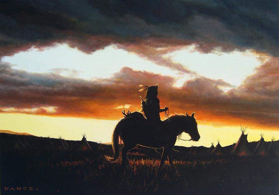 Native American Painting - Hunters Return by Dan  Nance
