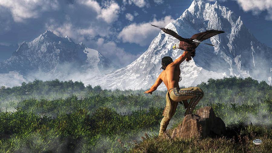 Hunt Digital Art - Hunting With An Eagle by Daniel Eskridge