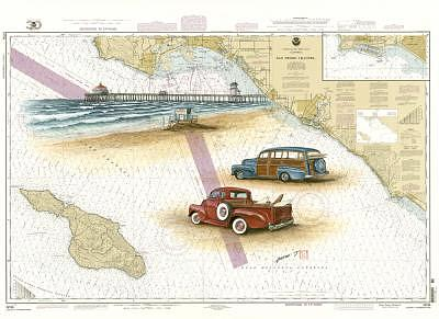 Woodys Print - Huntington Beach Chart Art by Peter  Jang