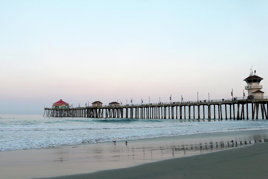 Huntington Beach Pier Photograph - Huntington Beach - Morning Has Broken by Art Block Collections