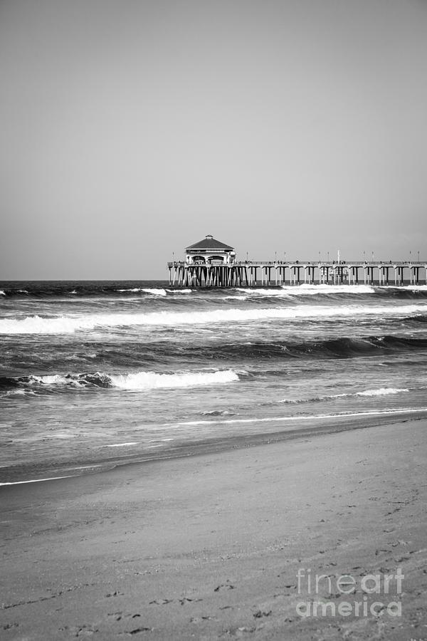 Huntington Beach Pier Black And White Photo Photograph