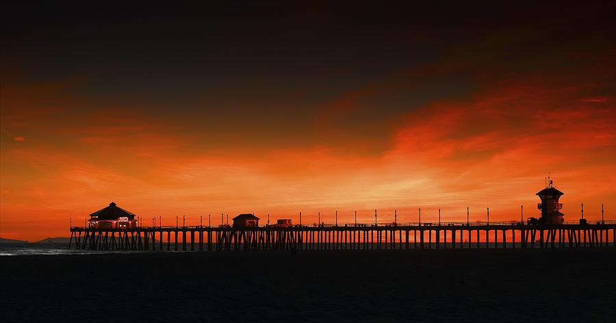 Bold Photograph - Huntington Beach Pier by DRK Studios