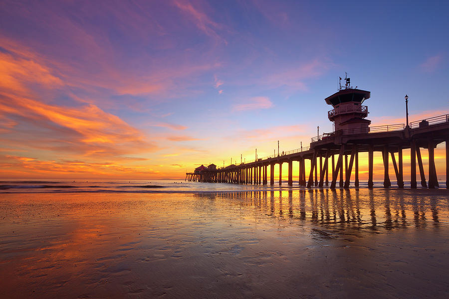 Huntington Beach Pier Sunset Reflection Photograph By Brian Knott Photography