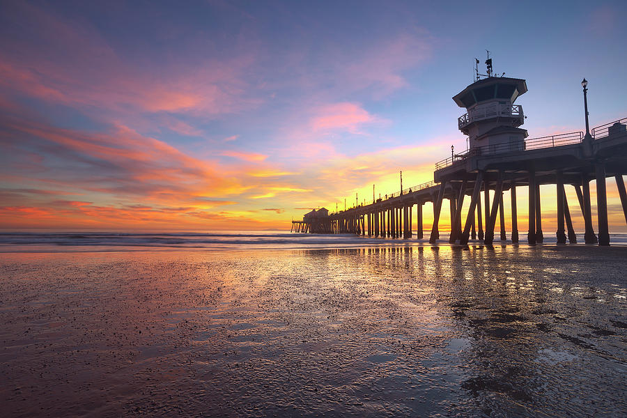 Huntington Beach Sunset Low Tide Photograph By Brian Knott Photography