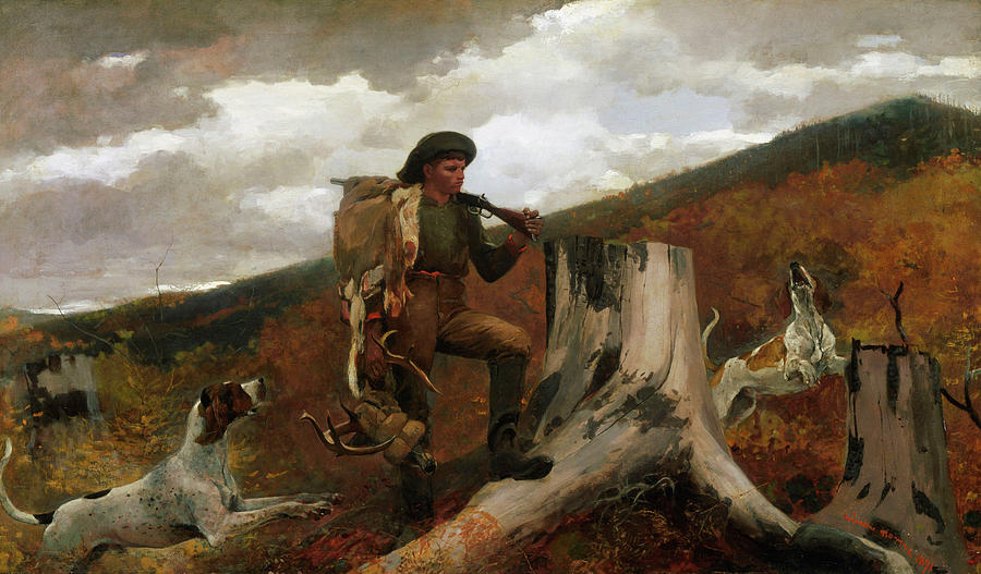Huntsman Painting - A Huntsman And Dogs by Winslow Homer