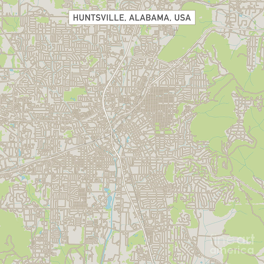 Huntsville Alabama Us City Street Map