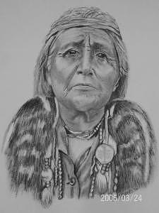 Western Drawing - Hupa Woman by Wanda Edwards