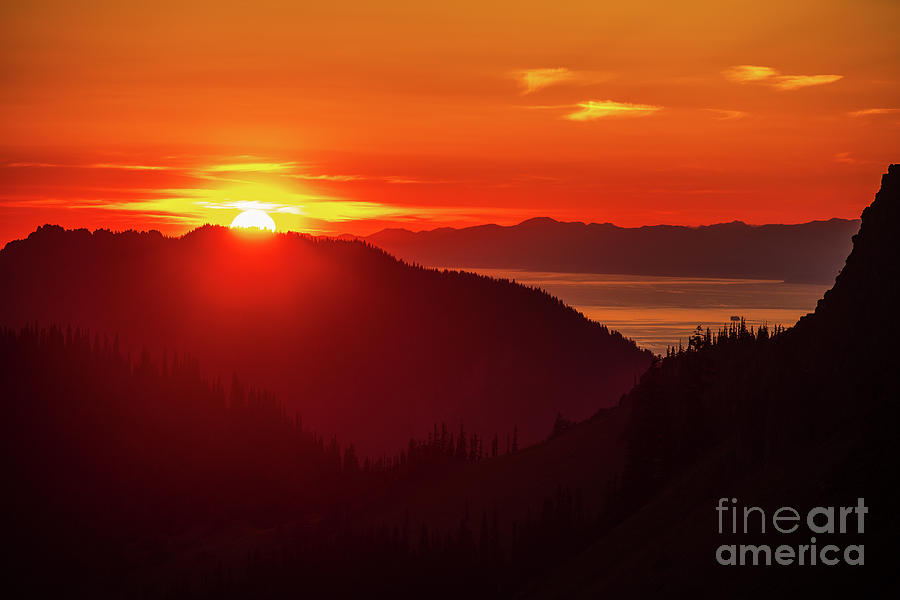 Olympic Mountains Photograph - Hurricane Ridge And The Strait Of Juan De Fuca Sunset by Mike Reid