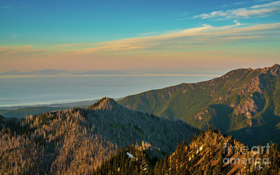 Olympic Mountains Photograph - Hurricane Ridge Dusk View Towards Vancouver Island by Mike Reid