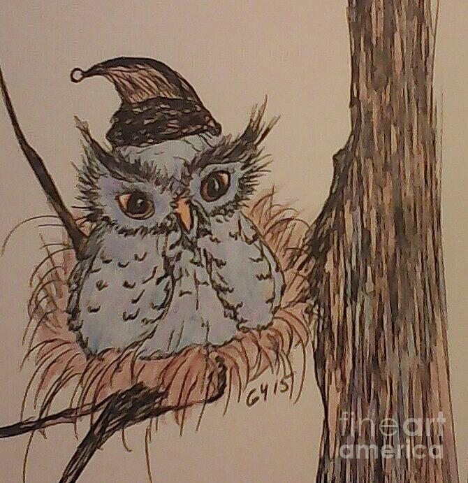 Owl Drawing - Hush Now Little One by Ginny Youngblood