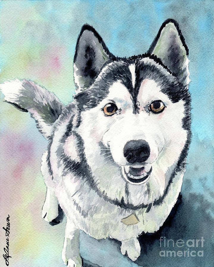 Husky Dog Love Husky Painting Husky Print Dog Painting Dog Print Painting By Leanne Sowa