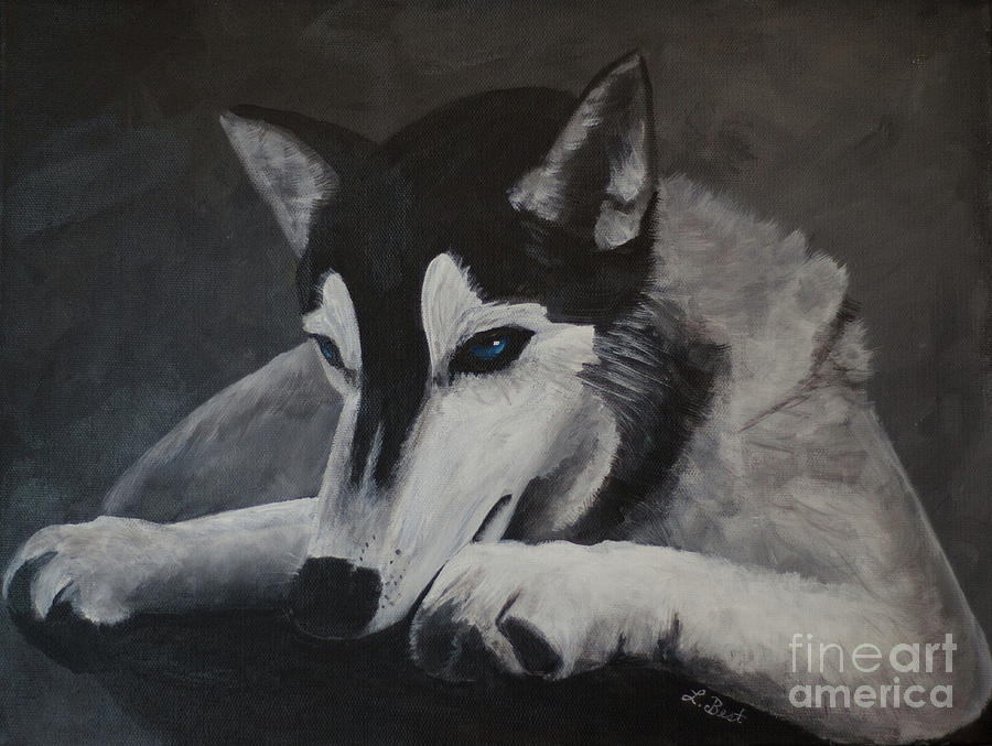 Husky Painting - Husky Resting by Laurel Best