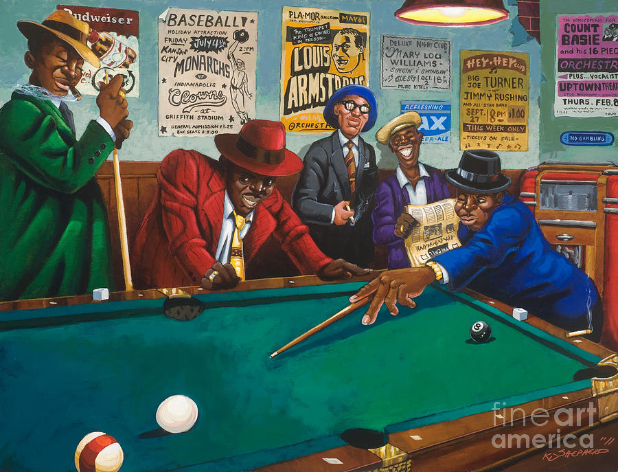 Hustlin Painting By Keith Shepherd - Pool table painting