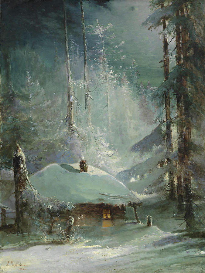 Hut in a wintry forest by Alexei Savrasov 1888 by Alexei Savrasov