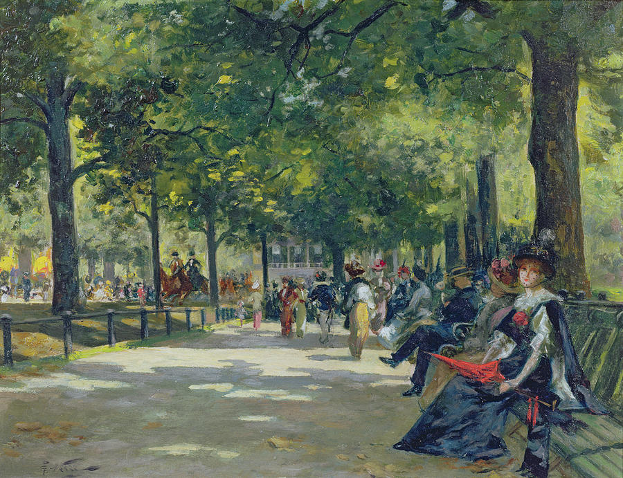 Hyde Painting - Hyde Park - London  by Count Girolamo Pieri Nerli