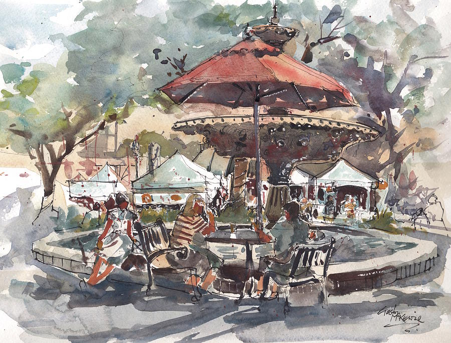 Hyde Park Painting - Hyde Park Market Plein Air by Gaston McKenzie