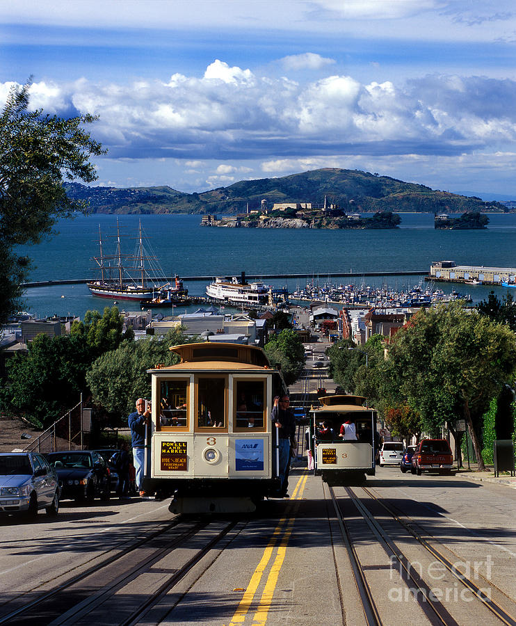Cable Car Photograph - Hyde Street Cable Car Line And San Francisco Bay by Wernher Krutein