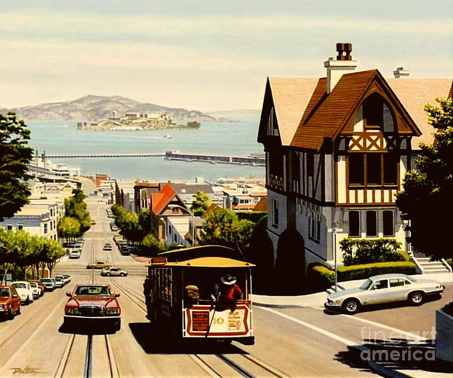 San Francisco Cable Car Painting - Hyde Street San Francisco by Frank Dalton