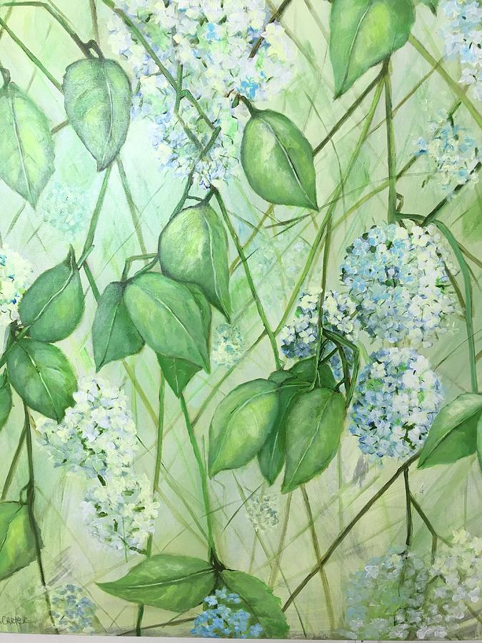 Flowers Painting - Hydrangea In Green by Anne Carter