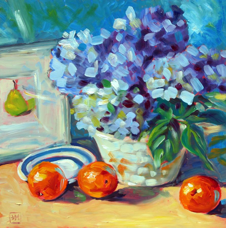Hydrangeas Painting - Hydrangeas And Oranges by Debbie Miller