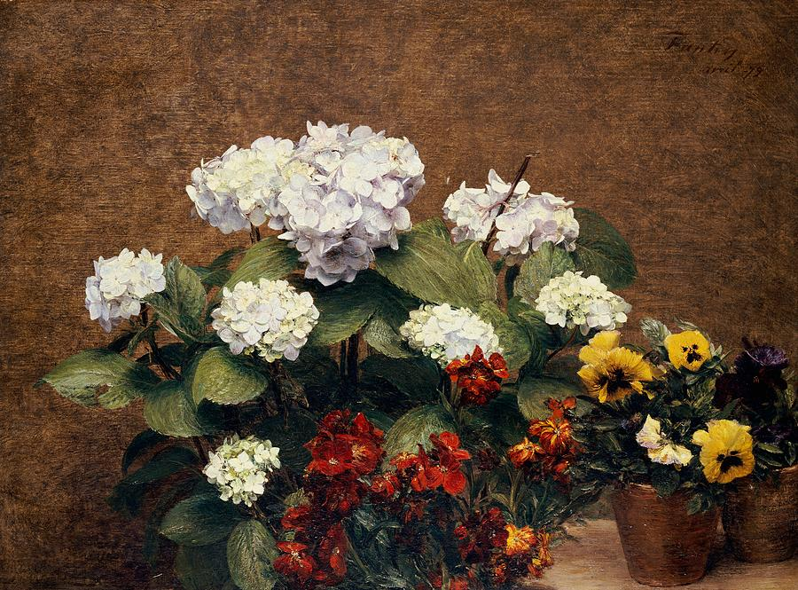 Still-life Painting - Hydrangeas And Wallflowers And Two Pots Of Pansies by Henri Jean Fantin-Latour