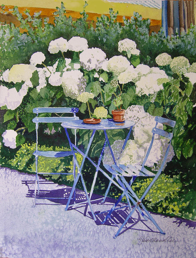 Cityscape Painting - Hydrangeas At Angele by Gail Chandler