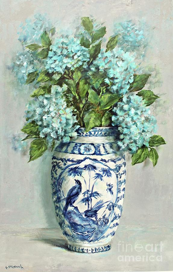 Hydrangeas In A Blue And White Vase Painting By Gail Mccormack