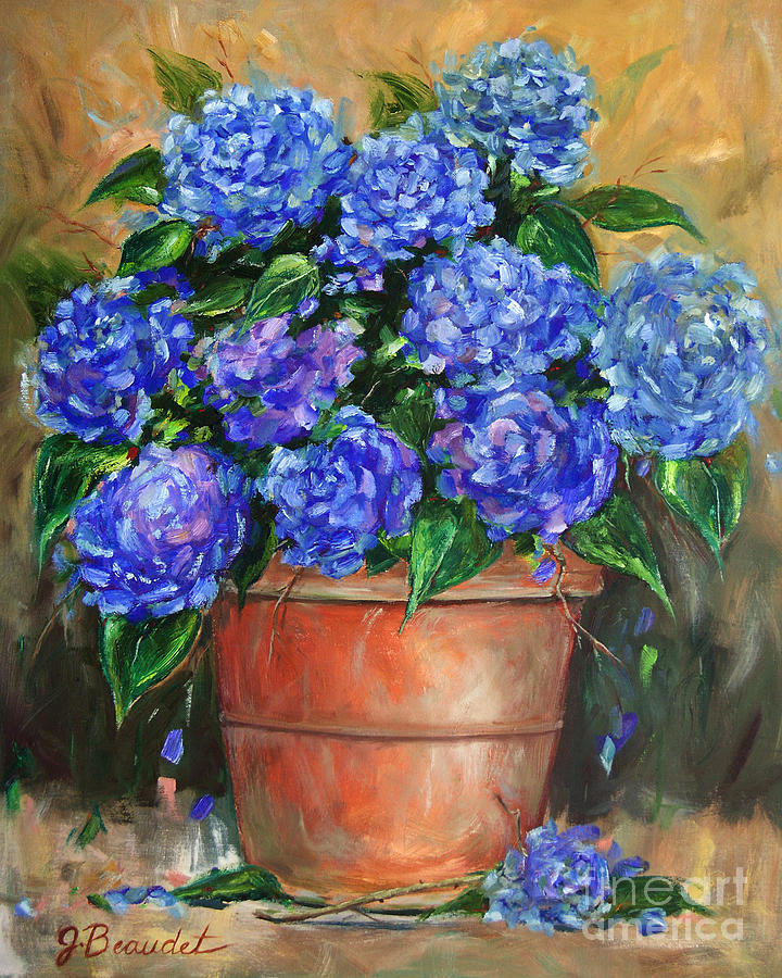 Hydrangeas In Pot Painting by Jennifer Beaudet