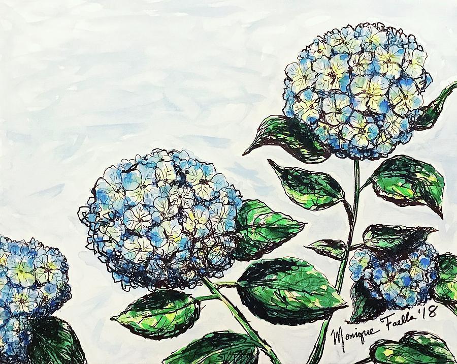 Watercolor Photograph - Hydrangeas by Monique Faella