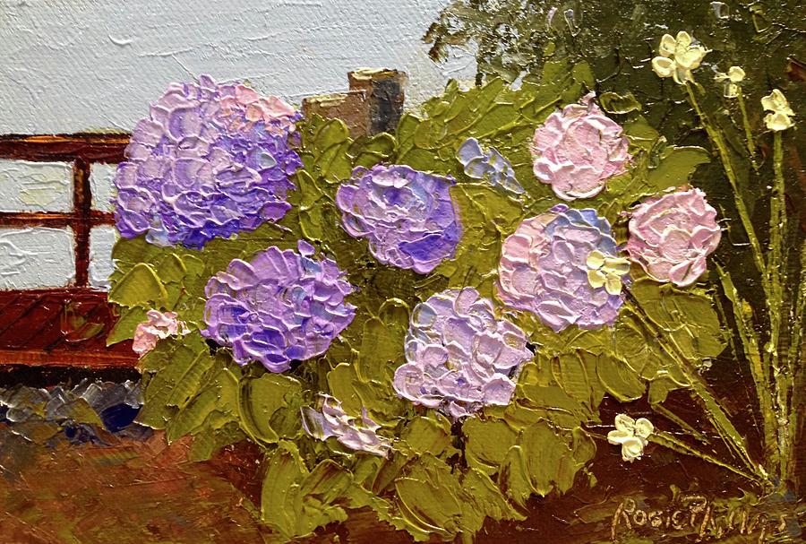 365 Painting - Hydrangeas On The Creek Bank by Rosie Phillips