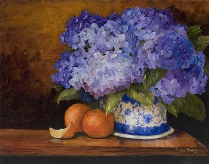 Oranges Painting - Hydranges And Oranges by Kathleen Marshall McConnell