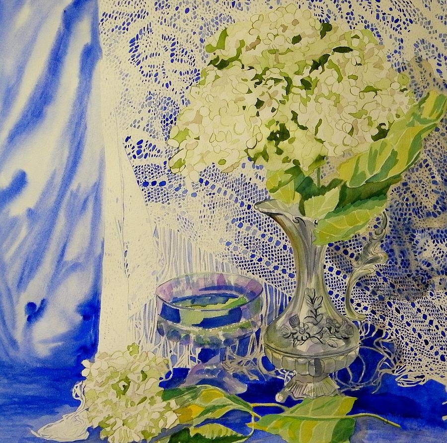 Antique Lace Painting - Hydrangia And Lace by Terry Honstead