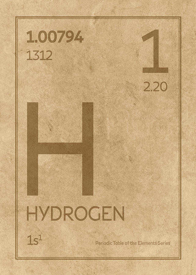 Hydrogen Element Symbol Periodic Table Series 001 Mixed Media By