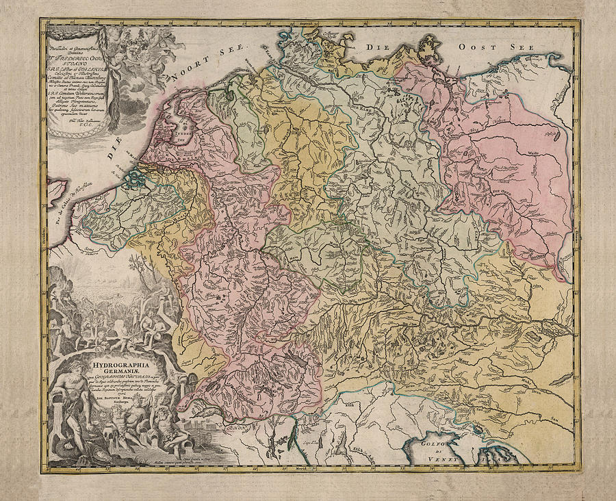 Geographical Map Of Germany.Hydrographia Germania The Rivers Of Germany Antique Geographical Map Historic Map By Studio Grafiikka
