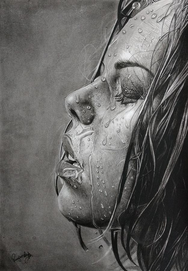 Hyper Realistic Charcoal Portrait Drawing By Prabhjeet Singh