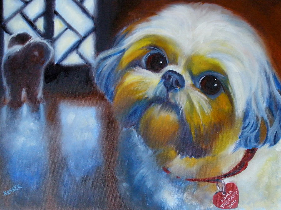 Pet Portrait Painting - I Am A Therapy Dog by Kaytee Esser
