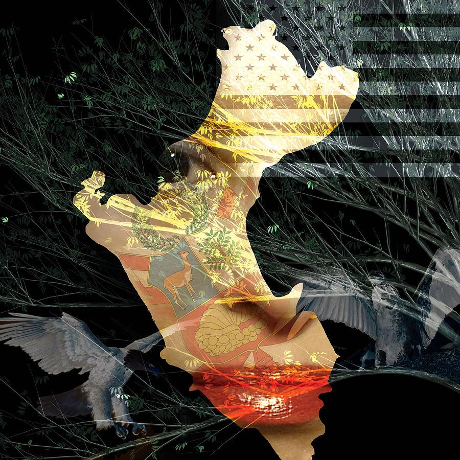 Canvas Prints Digital Art - I Am An American by Maria Reverberi