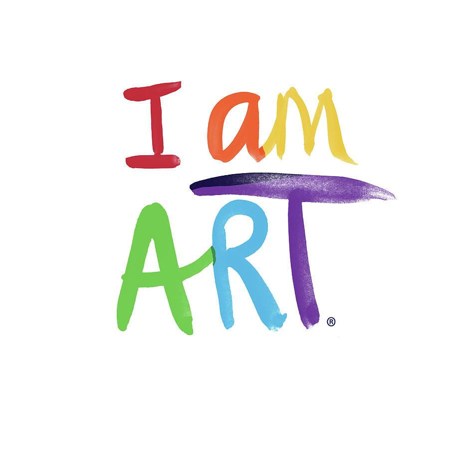 Rainbow Painting - I AM ART Rainbow Script- Art by Linda Woods by Linda Woods
