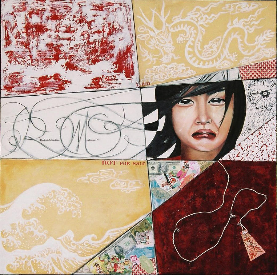 Asian Girl Painting - I Am Not A Tourist Attraction by Teresa Carter
