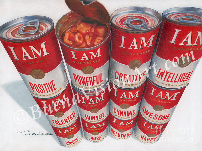 Soup Cans Drawing - I AM, Soup For The Soul by Buena Johnson